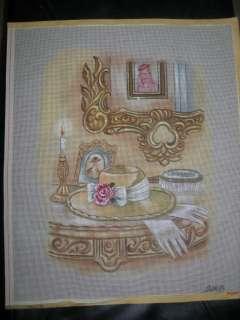 Antique VANITY Needlepoint Handpainted Canvas (DORB) Rare Retail $190
