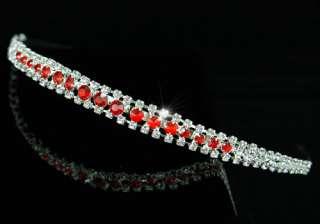 Row Red Crystal Bridal Wedding Headband Tiara T1203
