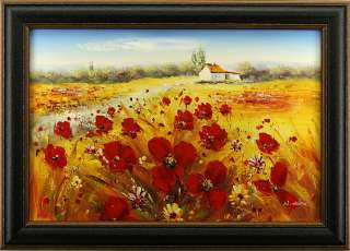 House Road Poppies Red Flowers Floral Field Landscape Art FRAMED OIL