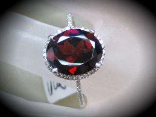27 Ct. Tw. Diamond And Oval Garnet Ring In Solid 14K White Gold