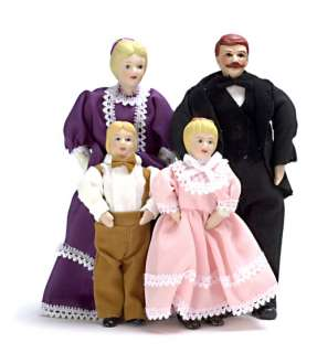 Dollhouse Miniature vinyl Victorian doll family people Dad/Mom/girl