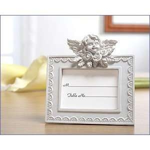 White Finish Resin Place Card Frame With Cherub Accented