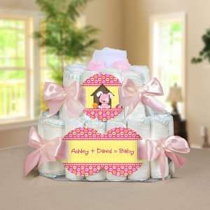 Puppy Dog Personalized Square   2 Tier Diaper Cake   Baby Shower Gift