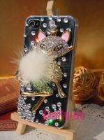Bling Cute Cat Swarovski Crystal Case Cover For iPhone 4 4G 4S