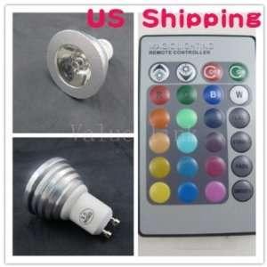 3W Aluminium 16 Colors GU10 RGB LED Light Remote Control +Battery for