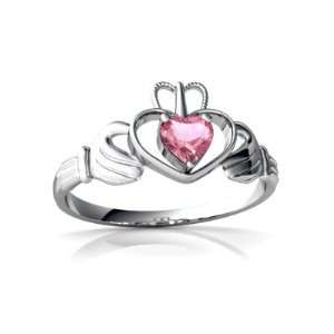 Gold Heart Created Pink Sapphire Celtic Claddagh Ring Size 5 Jewelry