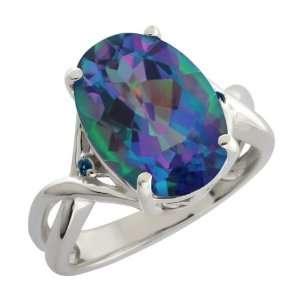 21 Ct Millenium Blue Oval Mystic Quartz and Diamond Argentium Silver