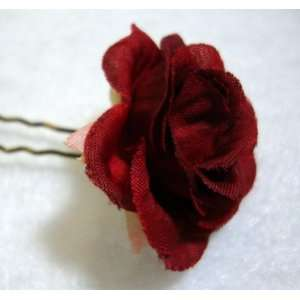 NEW Small Red Rose Flower Hair Pins   Set of 6, Limited