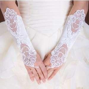 pair Fingerless Bridal Wedding Dress Lace Gloves Prom White/Ivory PICK