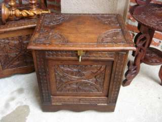 English Hand Carved Oak Drop Front Box Square Coffee End Table