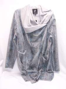 Luxe Rachel Zoe Faux Suede Long Sleeve Wrap XL $157 Blue Grey New 18