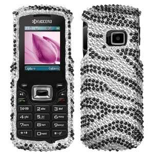 Black Zebra Skin Diamante Protector Faceplate Cover For