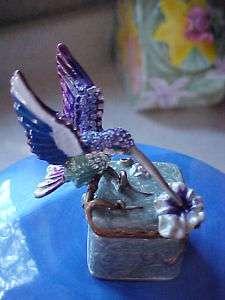HUMMINGBIRD PURPLE & BLUE ENAMELED TRINKET BOX AD9334