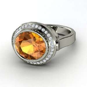 Racetrack Ring, Oval Citrine 14K White Gold Ring with