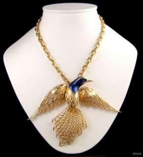 Large 1960s JOMAZ Enamel Bird Pendant Necklace Vintage Jewellery Prom