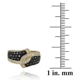 3ct Black Diamond & White Topaz Gold over Silver Ring