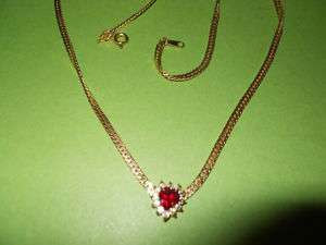 Rhinestone Goldtone Flat Chain Ruby/Crystal Heart V Necklace