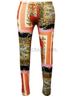 Paper Animal Leopard Chain Print Full Length Leggings Size 8 14