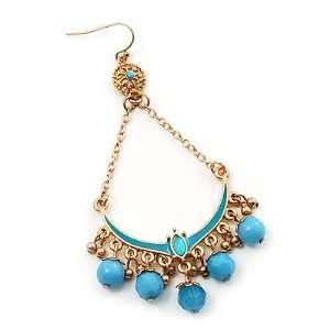 Gold Plated Light Blue Bead Chandelier Earrings   8cm Drop