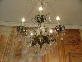 Elegant French Antique Vintage Bronze Chandelier with Sparkling