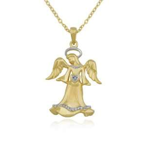 18k Yellow Gold Plated Sterling Silver Diamond Angel