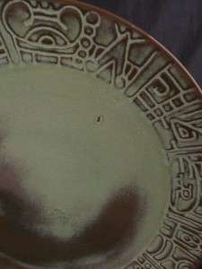 Frankoma Mayan Aztec Prairie Green   Large Round Platter Chop Plate