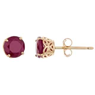 CARAT RUBY STUD EARRINGS 5mm ROUND CUT 14KT YELLOW GOLD JULY BIRTH