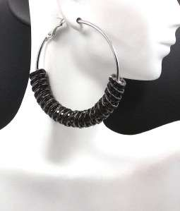 New Poparazzi Inspired Black Crystal Silver Tone Hoop Earrings