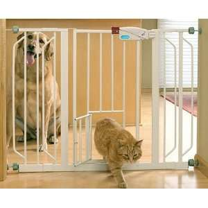 Extra Wide Pet Gate with Bonus Small Pet Door: Pet