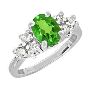 1.85 Ct 8X6 Oval Green Peridot Sterling Silver Ring