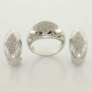 Diamond Pave Earring Ring Vintage Estate Set 14K White Gold