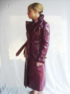 70s VTG Etienne Aigner Leather Spy Wrap Trench Coat S