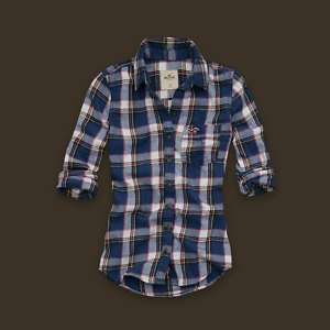 Hollister Womens Navy Plaid Flannel Shirt Multi Sz NWT
