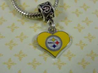 European Beads ~ Pittsburgh Steelers Football Yellow Heart Large Hole