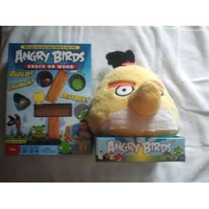 ANGRY BIRDS KNOCK ON WOOD GAME AND YELLOW ANGRY BIRD PLUSH