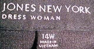 Jones New York BLACK PINK LEAVES JERSEY KNIT DRESS 14W