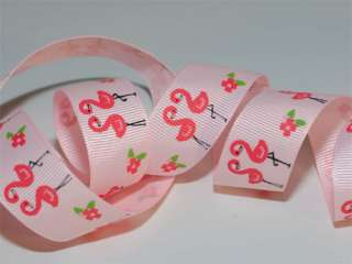 10 Y 7/8 Palm Beach Paradise Flamingo Grosgrain Ribbon