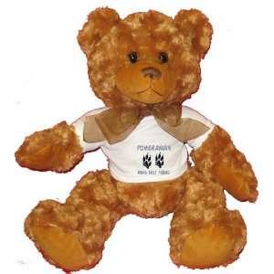 POMERANIAN MANS BEST FRIEND Plush Teddy Bear with WHITE T