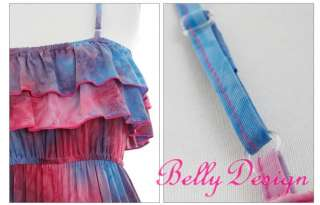 Sexy Colorful Ruffle Exotic Boho Maxi Long Beach Dress