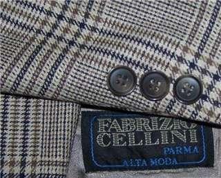 44R Fabrizio SILK WOOL BLACK BROWN PLAID sport coat suit blazer jacket