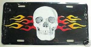 Biker Flaming Skull Embossed Aluminum License Plate NEW
