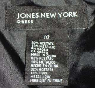 JONES NEW YORK Bronze & Black Brocade Beaded Dress   Sz 10