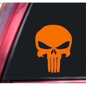 Punisher 2K Skull Vinyl Decal Sticker   Orange Automotive