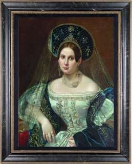 Old Master Art Antique Oil Painting female Portrait Noblewoman 24x36