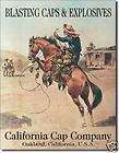 Cowboy Bucking Horse TIN SIGN Old West Ammo CAPS Ad 235