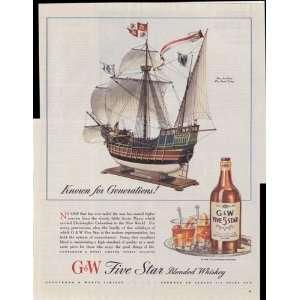G&W Five Star Blended Whiskey Santa Maria Ship Buy War