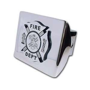 Firefighter Fire Dept (Chrome & Black) on Chrome Trailer Hitch Cover