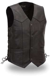 Milled 1.1 1.2mm cow leather Mens traditional four snap vest with