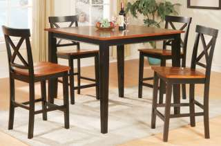 BLACK & OAK FINISH WOOD COUNTER DINING TABLE SET CHAIRS
