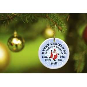 Merry Christmas Ornaments   Santa Roundy Snow